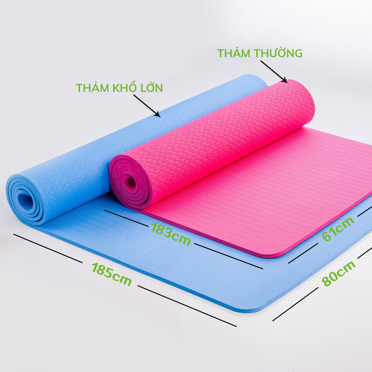 Thảm Yoga TPE khổ lớn 185cm x 80cm (dày 8mm)